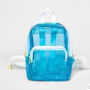 Neon blue clear mini backpack!
